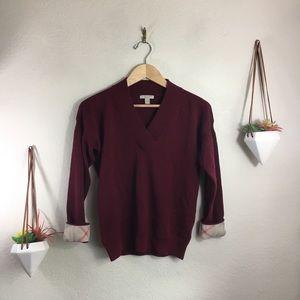 Burberry Brit red v neck cashmere blend sweater